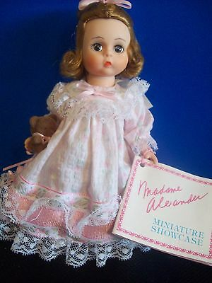 """MADAME ALEXANDER 8"""" DOLL """"WENDY"""" with TEDDY BEAR  and booklet 1990. LOTS OF LACE"""