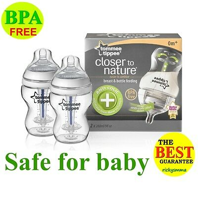 Tommee Tippee Closer to Nature Anti Colic Plus Bottle 260ml; 9oz x2 Brush