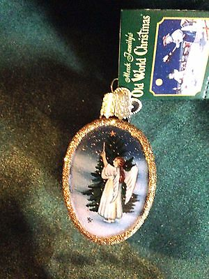 Old World  Christmas Ornament - Inside Art - Angel Trimming Tree