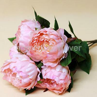 Pink Artificial Peony Silk Flower Bouquet Wedding Home Party DIY Decor