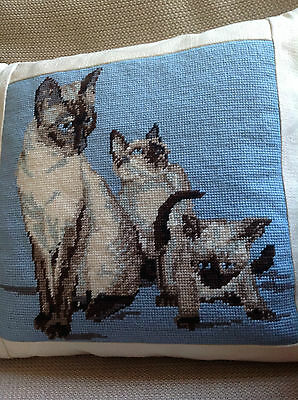 Siamese cat with kittens: needlepoint tapestry cushion hand stitched