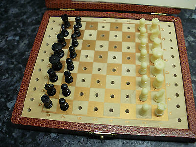 vintage 1950s pocket or travel chess set game by K&C Ltd Quality London in case