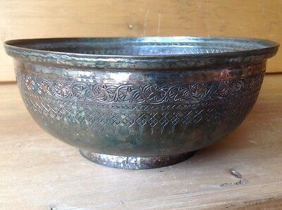 "Antique Persian/Islamic Safavid Tinned Copper/Bronze Ceremonial Bowl 9 3/4"" Exce"