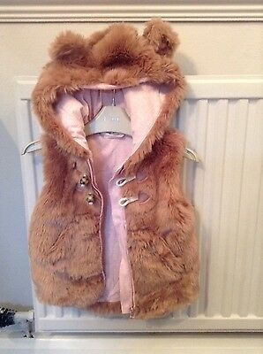 girls pink furry gillet age 2-3 years from next