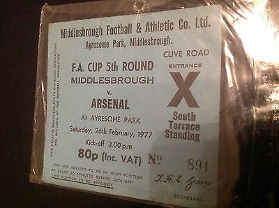 F.A.CUP 5th ROUND TICKET : MIDDLESBROUGH vs. ARSENAL 1977
