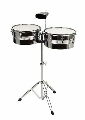 Xdrum Timbales Set - 33 and 35.6 cm (13 and 14 Inches) Including Cowbell