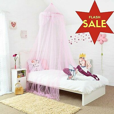 Princess Bed Canopy - Beautiful Silver Sequined Childrens Bed Canopy in Pink ...