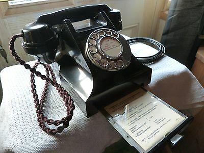 gpo 332L black bakelite telephone with drawer converted ready to use