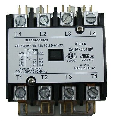 40 AMP DEFINITE PURPOSE CONTACTOR 4 Pole 120V Coil Lighting Heating 50A OEM HVAC