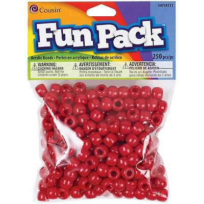 Fun Pack Pony Beads-Red 250/Pkg 016321082847