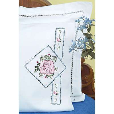 Stamped Pillowcases W/White Perle Edge 2/Pkg-Rose 013155855692