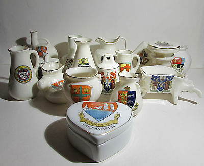 A collection of 16 Vintage crested China Ornaments. Grafton, Arcadian, & others