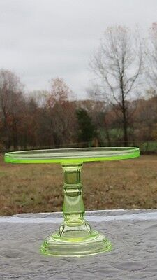 Antique Early Century Vaseline Glass Plain Cake Stand Pastry Display Tall 6 1/2""