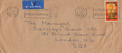N 147 Nigeria 1972 air cover UK; 1/9d rate; solo Trade Fair stamp...