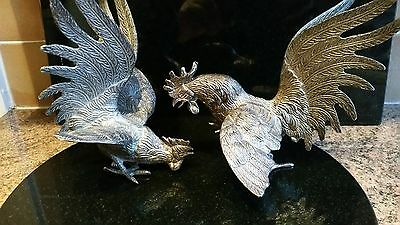 Vintage Pair Large & Heavy (Silver Plated Fighting Cocks ~ Roosters ~ Vgc