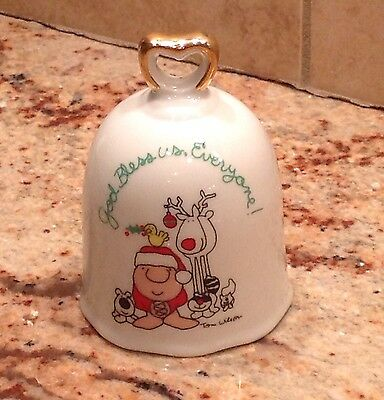 """Vintage Ziggy By Tom Wilson Christmas Bell """"God Bless Us, Everyone"""" Japan"""