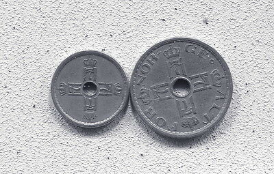 Norway - Two Beautiful Haakon Vii Coins: 25 Ore, 1924, & 50 Ore, 1927