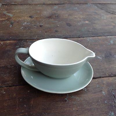 Poole Pottery Cameo Celadon Gravy Boat and saucer