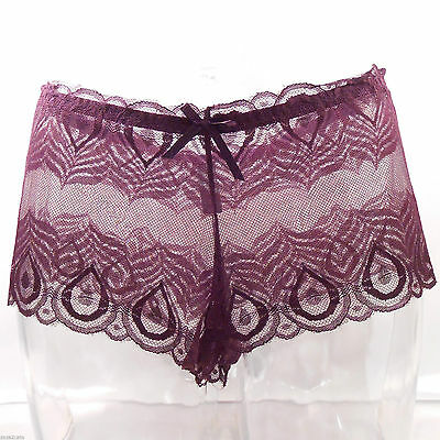 Lingerie CULOTTE SHORTY XL 42 44 DENTELLE VIOLET PRUNE PASSION ZAZA2CATS