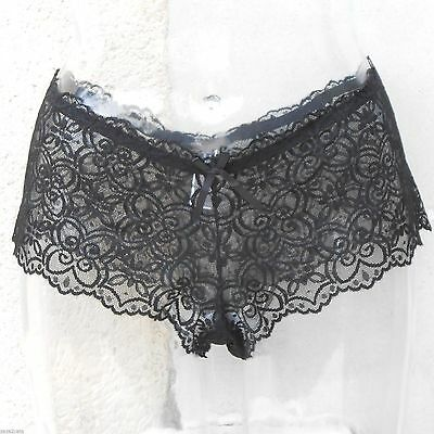 Lingerie CULOTTE SHORTY XL 42 44 DENTELLE NOIR TRANSPARENT PASSION ZAZA2CATS