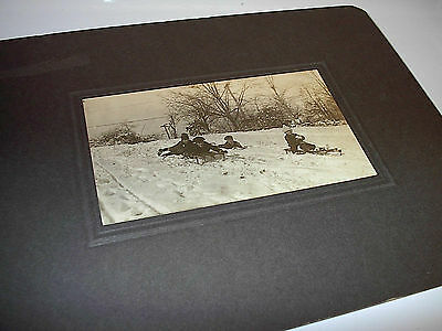 Original vintage large sepia photo Children sledding 1940s sled
