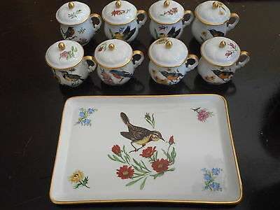 LIMOGES - ANTIQUE SET OF FRENCH PORCELAIN CREAM POTS AND TRAY (9 Pieces)
