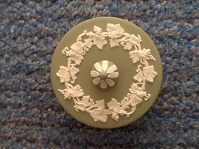 A Wedgwood Green Jasperware Small Round Trinket Box.