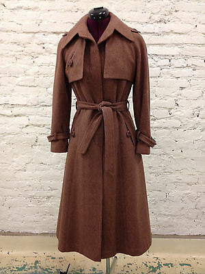 Vintage Cubalan Brown Wool Trench Coat Jacket with Lining Size S 9/10 Uruguay