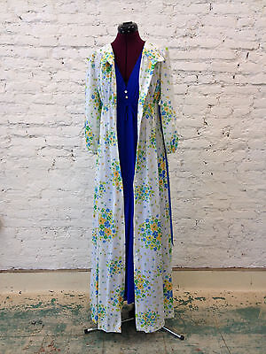 Vintage Royal Blue Long Nightgown and White Flower Retro Robe 50s Size M