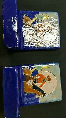 Extremely Rare San Jose Pottery Bookends Cowboy On Horseback Roping