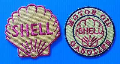 2 LOT SHELL GAS/OIL 3 Inch Embrodered Iron Or Sewn On Patches Free Ship