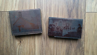 Antique wood copper negative print plates