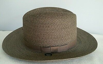 New! THE LAWMAN Genuine Milan Hat Straw BROWN Sheriff Stetson Style 7 1/4