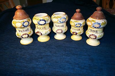 5 Vintage Retro French Storage Jars Kitchen Ceramic Jars Hand Painted