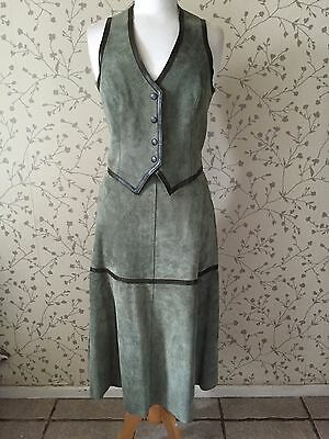 1970s Suede Skirt And Waistcoat Set