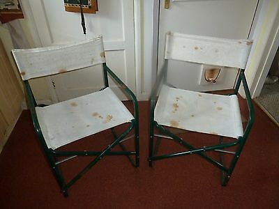 2 x Vintage Metal Directors Chairs Green and Canvas.