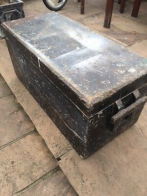 Antique Wooden Carpenters Tool Chest Trunk Box