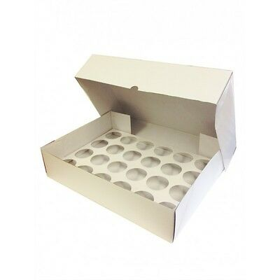 2 x STRONG Deep White Corrugated Fairy Cupcake 24 Hole Muffin Box Insert Tray