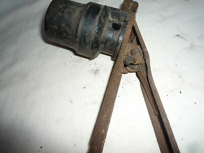 Vintage  Industrial Style Inspection Lamp Holder??? Bakelite Holder Rusty Clip