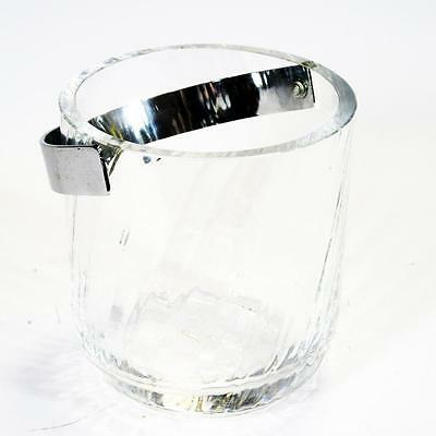 "Dartington Crystal- Ice Bucket Glass with Chrome Handle- ""Ripple"""