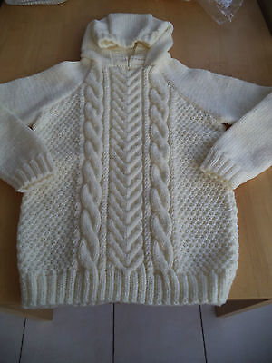 "Boys/Girls hand knitted Aran hooded jumper chest 30"" approx age 9,10,11 years"