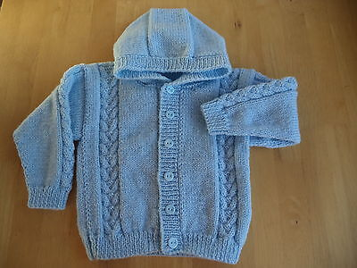 "Boys hand knitted hoody/jacket 22"" chest approx age 2-3 years Pale Blue"