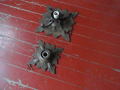 Pair Of Architectural Salvage Iron Gothic /Spanish Ceiling Fixtures Nice!