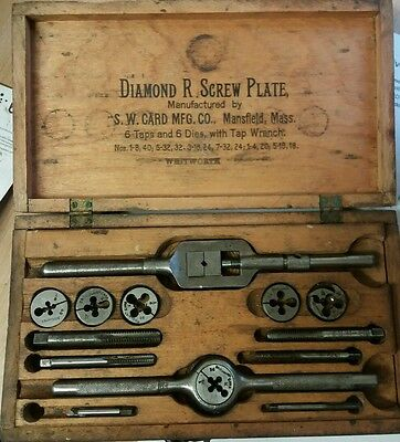 S.W.CARD MFG.CO Mansfield; Mass Tap wrench taps and dies in original case