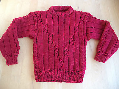 "Boys hand knitted jumper 22-24"" chest approx age 2,3,4 years Burgundy"
