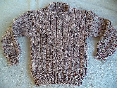 "Boys hand knitted jumper 22-24"" chest approx age 2,3,4 years Burgundy mix"