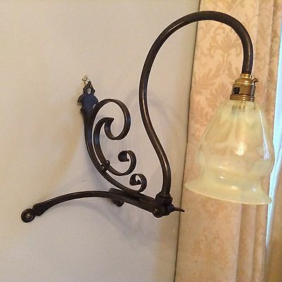 Arts and crafts wrought iron table/ wall lamp ( Powell manner)