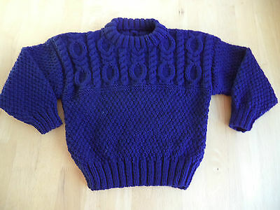 """Boys hand knitted jumper 22"""" chest approx age 2 years Navy Blue"""