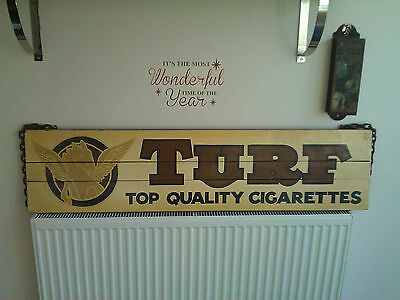 Large Decorative wooden sign for Turf Cigarettes advertising