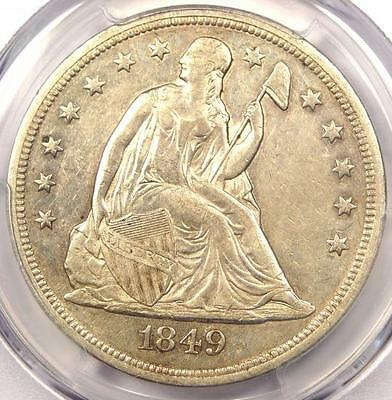 1849 Seated Liberty Silver Dollar $1 - PCGS XF Details - Rare Early Date Coin!